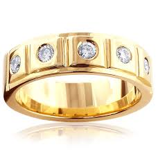 14k gold wedding band 14k gold 5 diamond wedding band for men 0 3ct comfort fit five