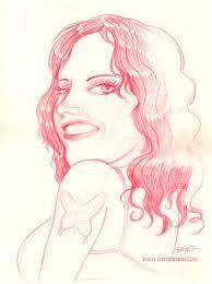 red woman pencil sketch cartoon