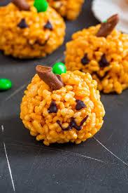 rice crispy treat pumpkins pumpkin rice krispie treats kid friendly treat
