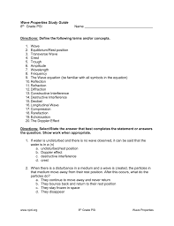 wave properties study guide 8th grade psi name directions