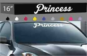 princess windshield decal banner car truck cute cursive letters