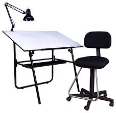Contemporary Drafting Table 3 Piece Ultima Set With Maxima Drafting Chair Black