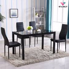 4family 5 piece dining table set 4 chairs glass metal kitchen room picture 1 of 5