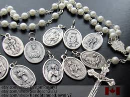 catholic necklaces catholic jewelry wholesale lot of 5 patron saints charms medals