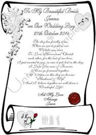 To My Bride On Our Wedding Day Card To My Bride On Our Wedding Day Personalised Card Scroll Laminated