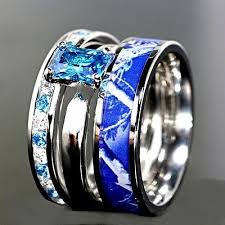 camo wedding band sets 3pc blue camo stainless steel band 925 sterling silver sapphire