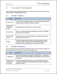 Security Procedures Template system administration guide ms word and excel template