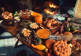 table with a feast for the autumn and winter season in the