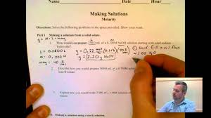 making solutions worksheet examples badger high chemistry