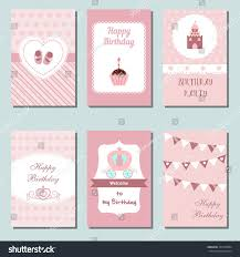 My Birthday Invitation Card Set Beautiful Birthday Invitation Cards Decorated Stock Vector