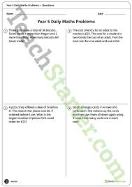 daily maths word problems year 5 worksheets teaching resource