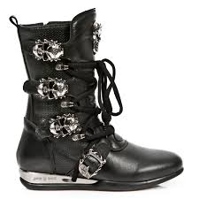 heeled biker boots black leather hybrid boots w skull buckles may take up to 45 50