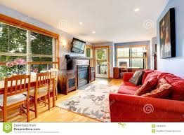 living room with office area and dining table stock photo image