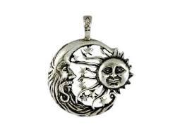 celestial moon and sun pendant pewter windblown sun crescent