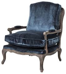 Traditional Accent Chair Velvet Style Oak Bergere Armchair Blue Traditional