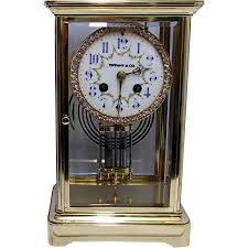 Large Silver Mantel Clock Tiffany French Crystal Regulator Mantle Clock From Drury On Ruby Lane