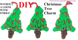 Christmas Tree Without Ornaments by Christmas Tree Charm Without Rainbow Loom With 2 Forks Tutorial