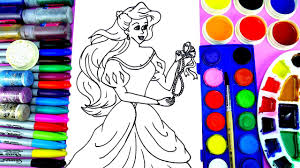 learn to color little mermaid coloring page princess ariel