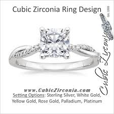 diamond rings zirconia images Cz ring 1 1 tcw cushion cut w twisted pave split band cubic jpg