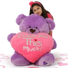 valentines big teddy 42in purple s day teddy with plush i