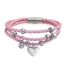 s charm bracelet dangling heart charms pink braided leather strand bracelet