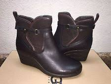 s ugg australia black emalie boots ugg emalie leather wedge bootie ankle boot black waterproof size
