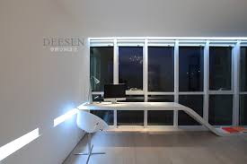 Modern Wall Desk Office With Modern Desk Symmetrical Glass Window Wall Interior