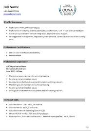 Sample Resume Of Network Administrator by Ccna Resume Resume Cv Cover Letter