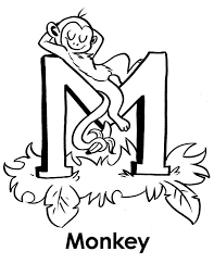 Monkey Sleeps On Letter M Coloring Page Download Print Online M Coloring Pages