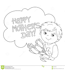 coloring page outline of boy with flowers mother u0027s day stock