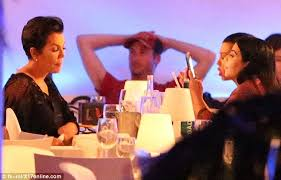 kris jenner diamond earrings and kourtney look bored dining in st barts with