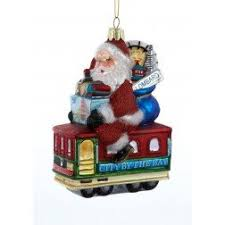 santas themed ornaments and city