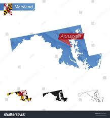 maryland map capital state maryland blue low poly map stock vector 470645810
