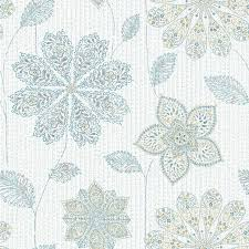 Peal And Stick Wall Paper Gypsy Floral Blue Green Peel And Stick Wallpaper Traditional