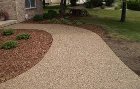 Exposed Aggregate Patio Stones Exposed Aggregate Concrete Sidewalk Cincinnati Ohio Backyard