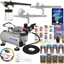 new 3 airbrush kit 6 primary colors air compressor dual action