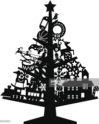 christmas tree silhouette with toys vector art getty images