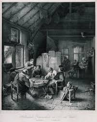 file a dutch country tavern with six men drinking and smoking at