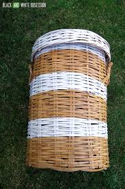 black and white obsession how to makeover a wicker laundry hamper