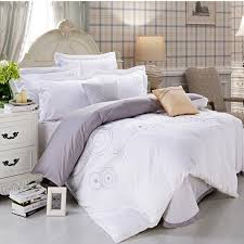 black white hotel duvet cover queen king 4pcs embroidered solid color bedding set home textile bed sheet bedclothes cotton in bedding sets from home
