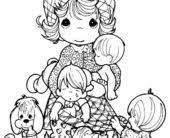 coloring pages precious moments coloring palying sister