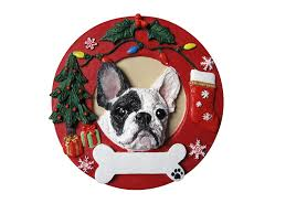 amazon com french bulldog christmas ornament black and white