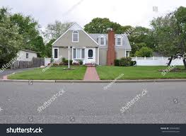 bungalow style home suburban bungalow style home overcast sky stock photo 728443582