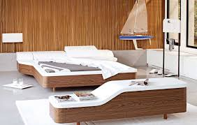 walnut white unusual platform bed interior design ideas