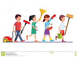 kids doing a home cleanup stock vector image 74804851