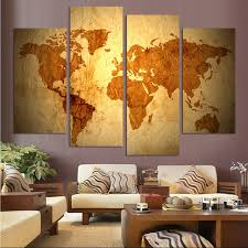 4 Piece Retro World Continent Map Wall Painting Modern Home Wall