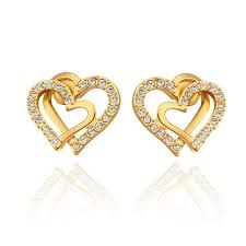 gold earrings for women images fashion earrings women classic heart gold plated gold plated