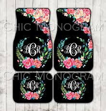 Monogrammed Bathroom Accessories by Floral Monogrammed Car Mats Classy Black Monogram Carmats Car