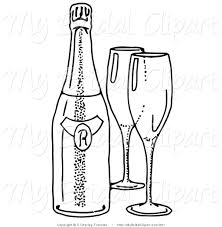 bridal clipart of a coloring page of two empty wine glasses by a