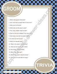 bridal shower question printable bridal shower groom trivia